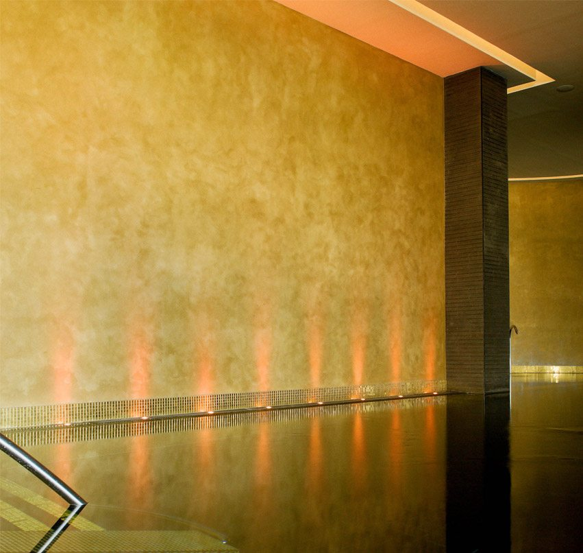 gold polished plaster wall